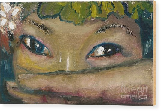 Asian Eyes Wood Print