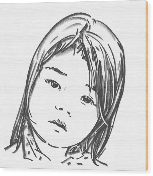 Asian Girl Wood Print