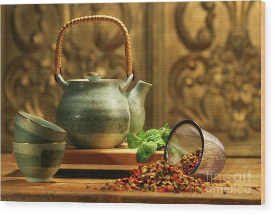 Asian Herb Tea Wood Print