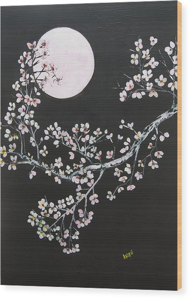 Asian Moon Wood Print