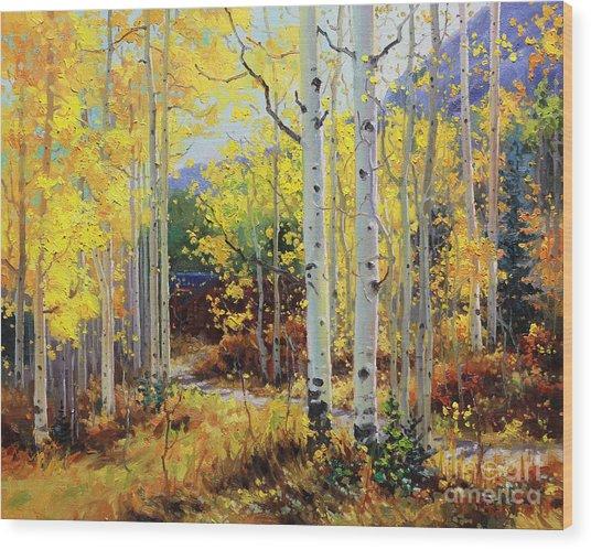 Aspen Cabin Wood Print by Gary Kim