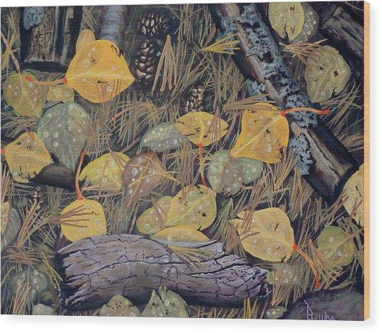 Aspen Leaves And Needles Wood Print