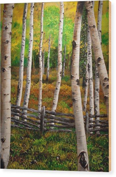 Aspen Meadow Wood Print