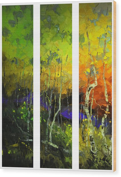 Aspens In Season Wood Print