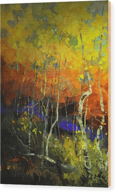 Aspens In The Fall Wood Print