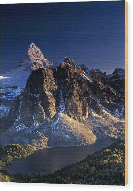 Assiniboine And Sunburst Peak At Sunset Wood Print by Richard Berry