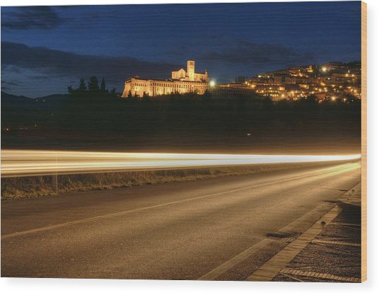 Assisi By Night Wood Print by Luca Roveda