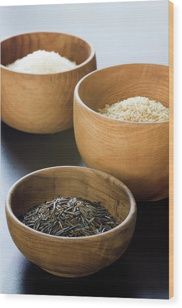 Assortment Of Rice Wood Print by Gustoimages/science Photo Library