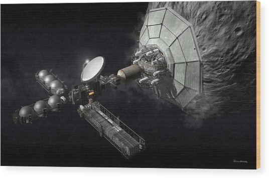Wood Print featuring the digital art Asteroid Mining And Processing by Bryan Versteeg