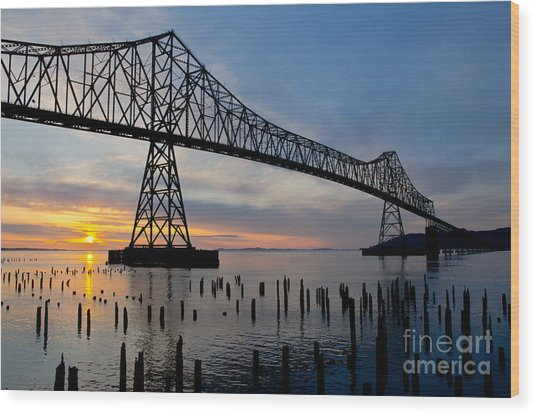 Astoria Bridge Sunset Wood Print