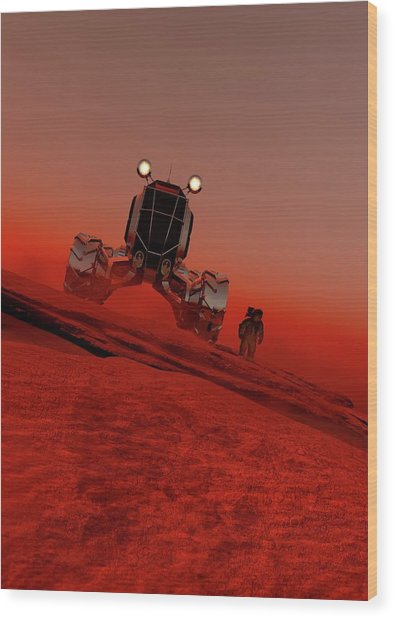Astronaut And Vehicle On Mars Wood Print by Victor Habbick Visions