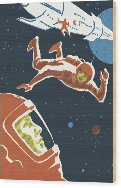 Astronauts In Outer Space Wood Print by CSA-Printstock