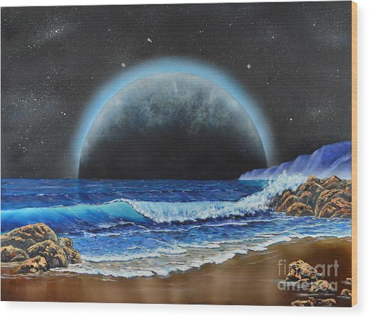 Astronomical Ocean Wood Print