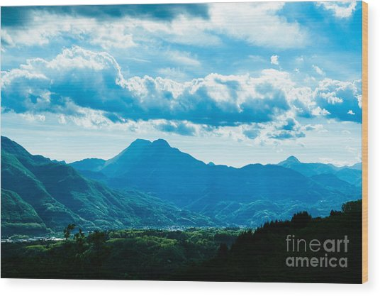 At Barga Looking Towards The Apuane Alps From The Duomo Tuscany Wood Print