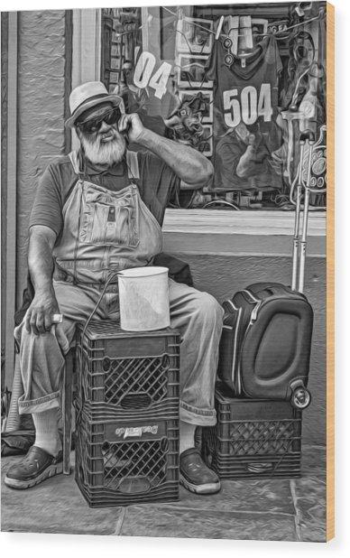 At His Office - Grandpa Elliott Small Bw Wood Print