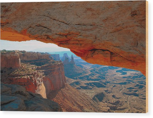 At Mesa Arch  --   2010 First Place Peoples Choice Caa Art Show  Wood Print