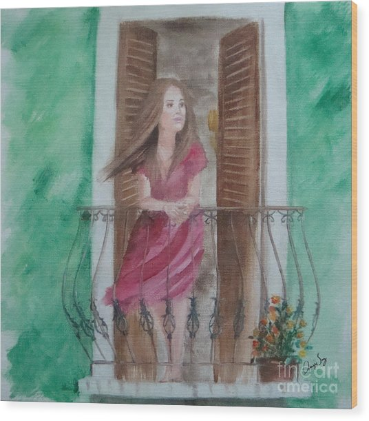 At The Balcony Wood Print by Angela Melendez