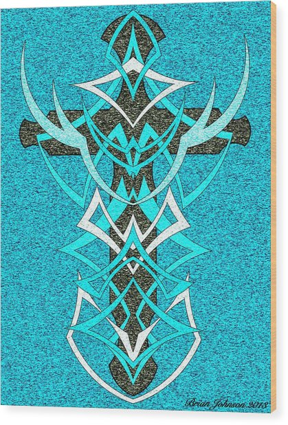 At The Cross Tile 2 Wood Print by Brian Johnson