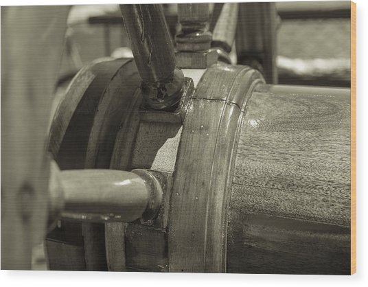 At The Helm Black And White Sepia Wood Print