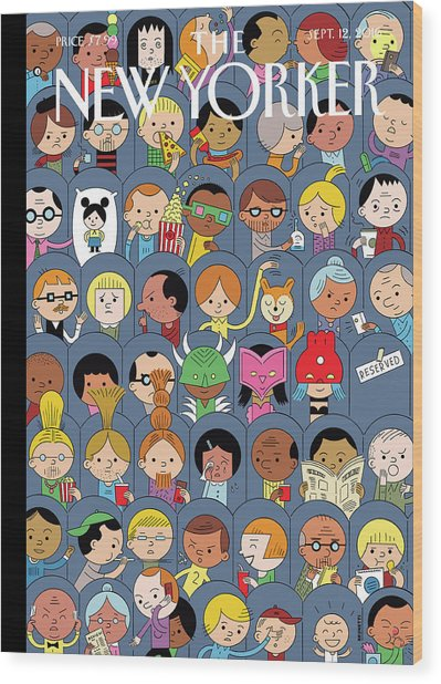 At The Movies Wood Print by Ivan Brunetti