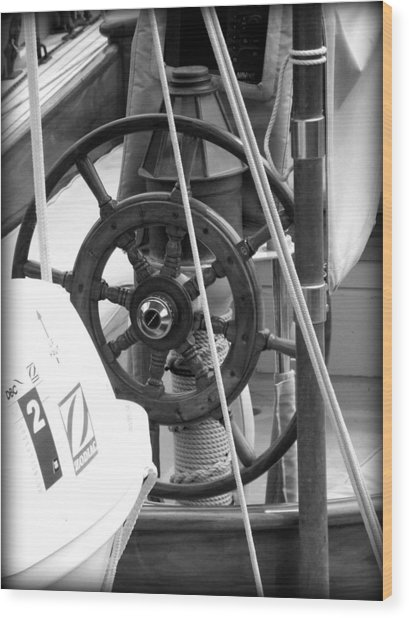 At The Wheel Bw Wood Print by Dancingfire Brenda Morrell