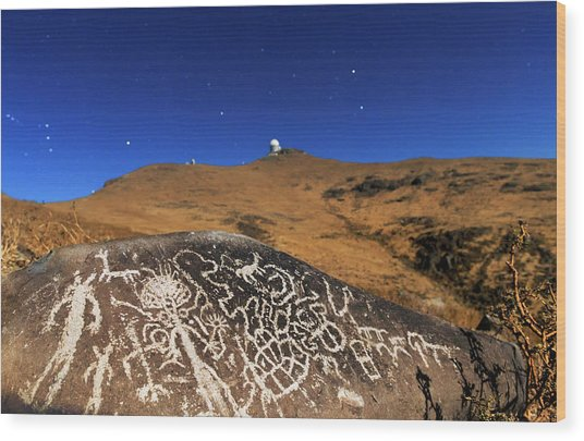 Atacama Rock Art And Astronomical Observatories Wood Print by Babak Tafreshi/science Photo Library