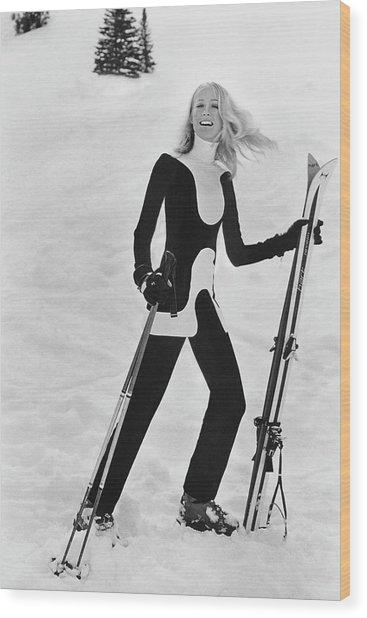 Athlete Suzy Chaffee Wood Print