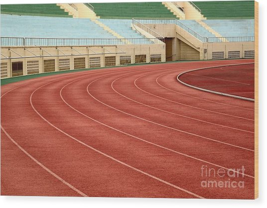Athletic Track And Field Markings Wood Print