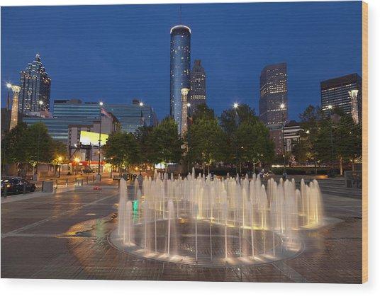 Atlanta By Night Wood Print