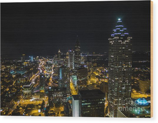 Atlanta City Lights Wood Print