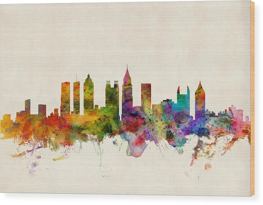 Atlanta Georgia Skyline Wood Print