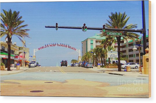 Atlantic Avenue In Daytona Wood Print