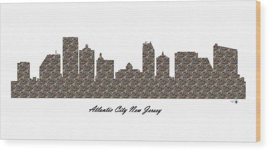 Atlantic City New Jersey 3d Stone Wall Skyline Wood Print