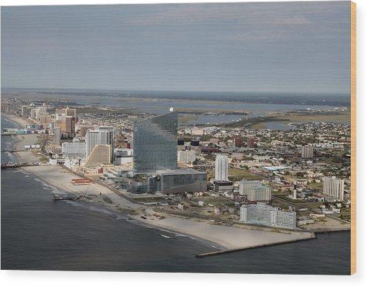Atlantic City Poster Wood Print