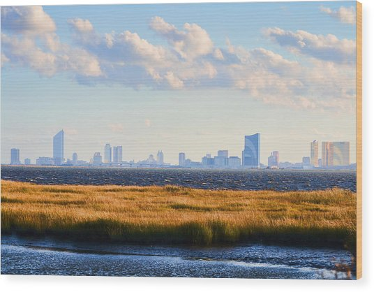 Atlantic City Skyline From Salt Marsh Wood Print