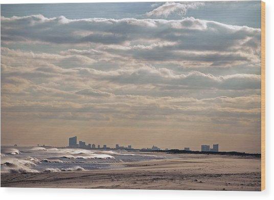 Atlantic City Skyline II Wood Print