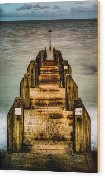 Atlantic Ocean Engulfing A Walkway At Aberystwyth Uk Wood Print