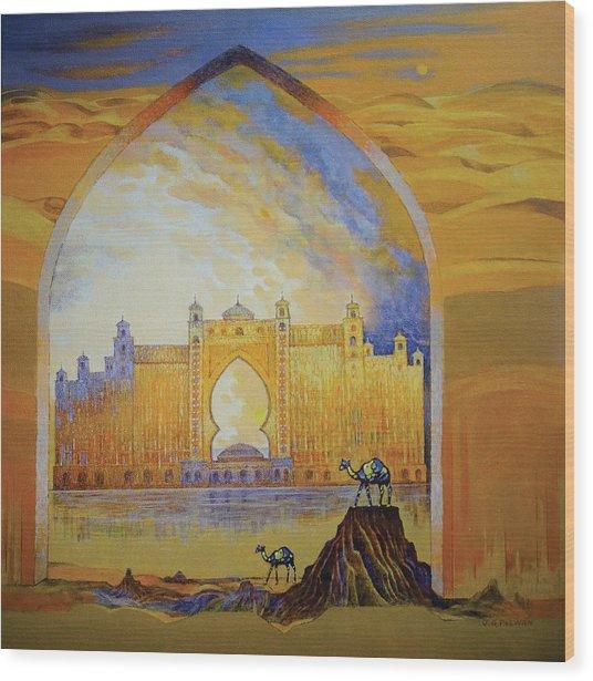 Atlantis And Camels Dubai Wood Print