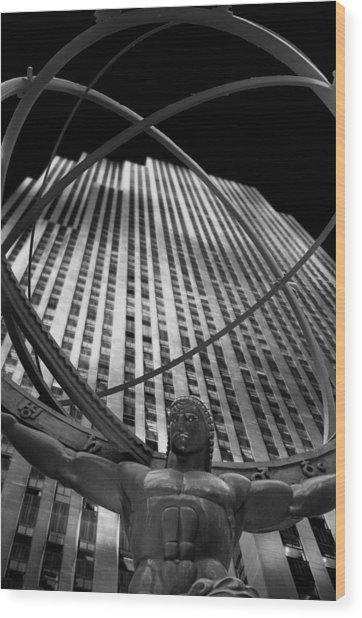 Atlas Rockefeller Center Wood Print