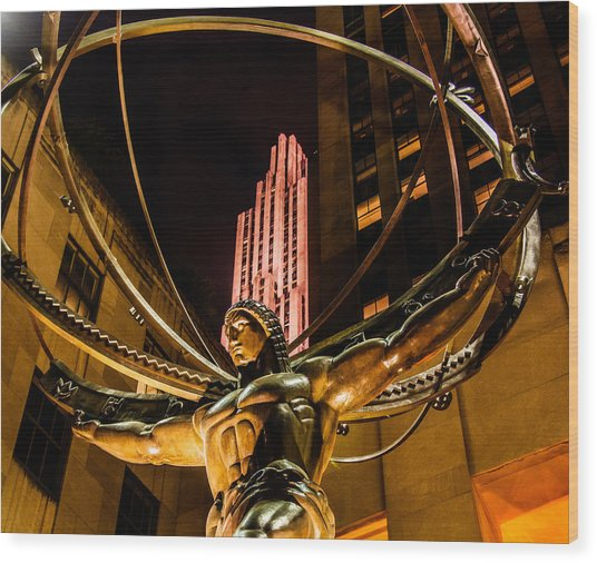 Atlas - Rockefeller Center Wood Print
