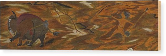 Atlatl Hunting  Wood Print