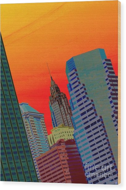 Atomic Skyline Wood Print