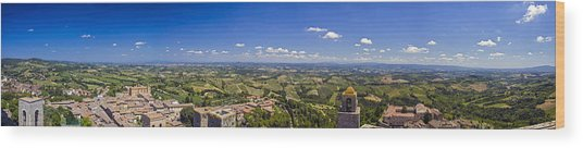 Atop The Bell Tower In San Gimignano Wood Print