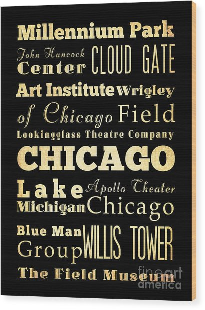 Attractions And Famous Places Of Chicago Illinois Wood Print