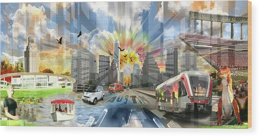 Atx Explosion Wood Print