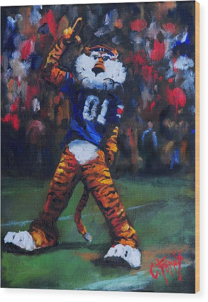 Aubie Doing His Thing Wood Print