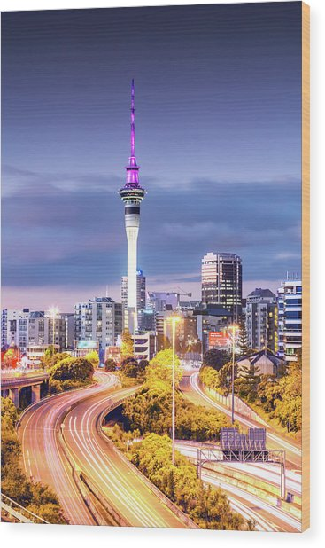 Auckland Cbd At Dusk, New Zealand Wood Print by Matteo Colombo