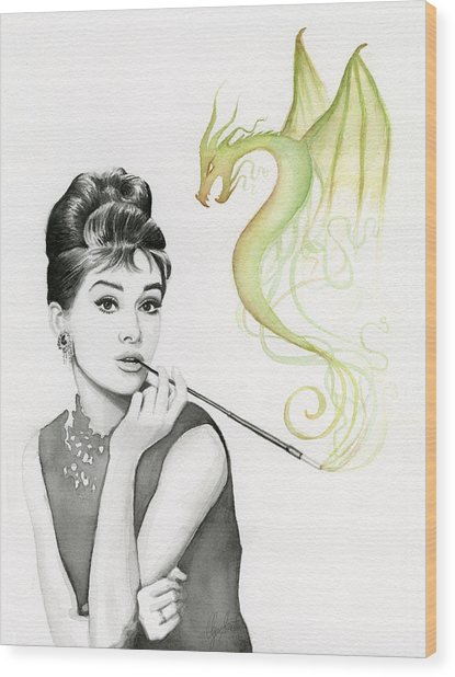 Audrey And Her Magic Dragon Wood Print
