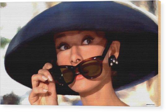 Audrey Hepburn @ Breakfast At Tiffany's Wood Print