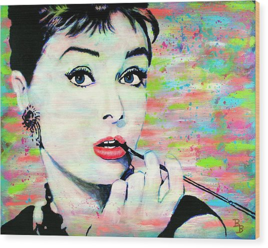 Audrey Hepburn Art Breakfast At Tiffany's Wood Print